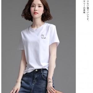 小猫刺绣T恤女韩版学生宽松上衣短袖t恤